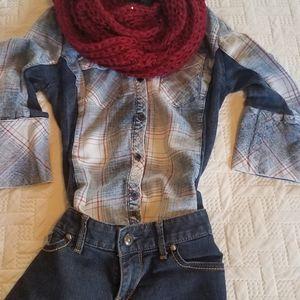 Ci Sono blue plaid button-up shirt - Size S